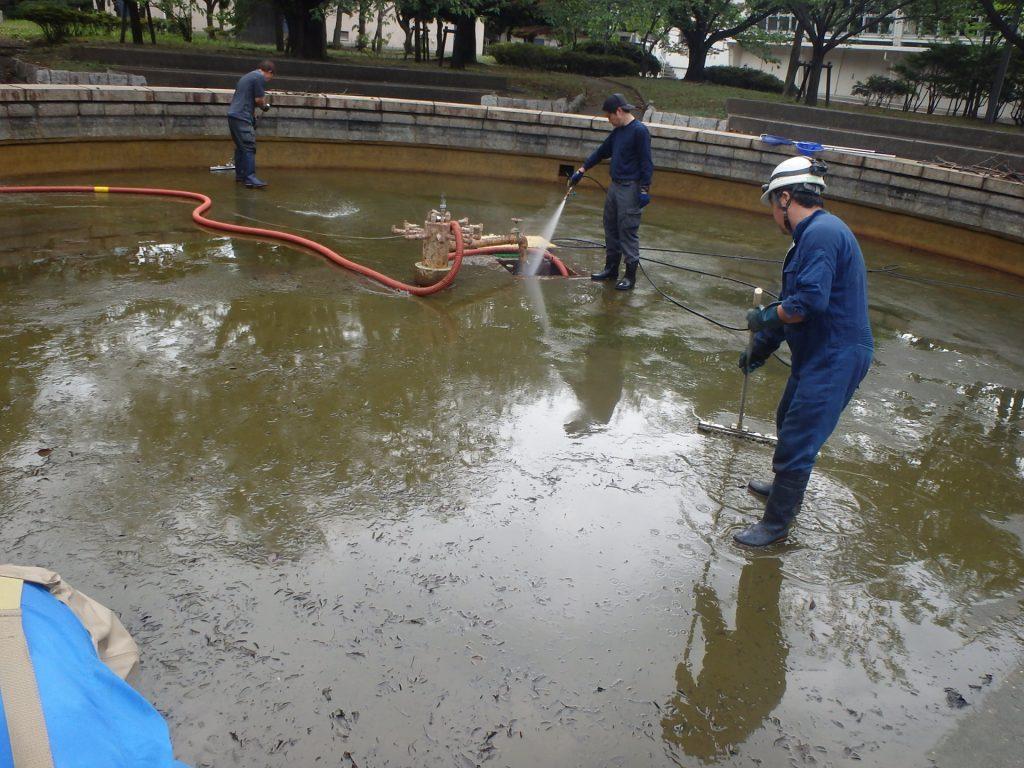 池 清掃中